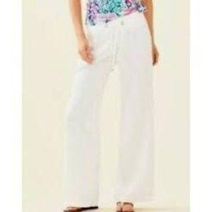 Lilly Pulitzer Linen White Beach Pants Wide Leg Pa